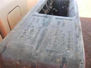 Japanese writing and barnacles can be seen on the side of a black plastic skip found on the east end. Photo courtesy Midge Nakagawa
