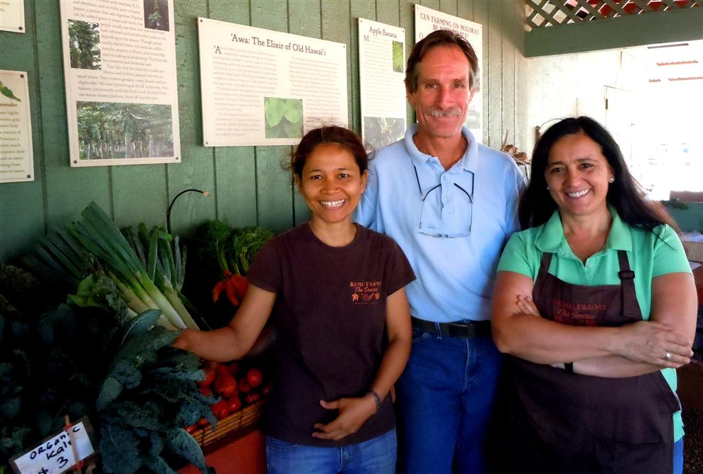 Left to right, Kumu Farms store manager Etty Angst, owner Grant Schule, and marketing director Manu Vinciguerra. Photo by Catherine Cluett