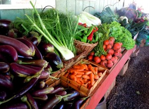 Fresh produce at Kumu Farms' Molokai farm market. Photo by Catherine Cluett