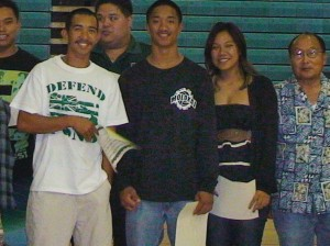 Mr. Nakamura and Mr. Flowers with Ho'oku'i students at MHS Recognition and Scholarship Assembly held on May 11, 2012