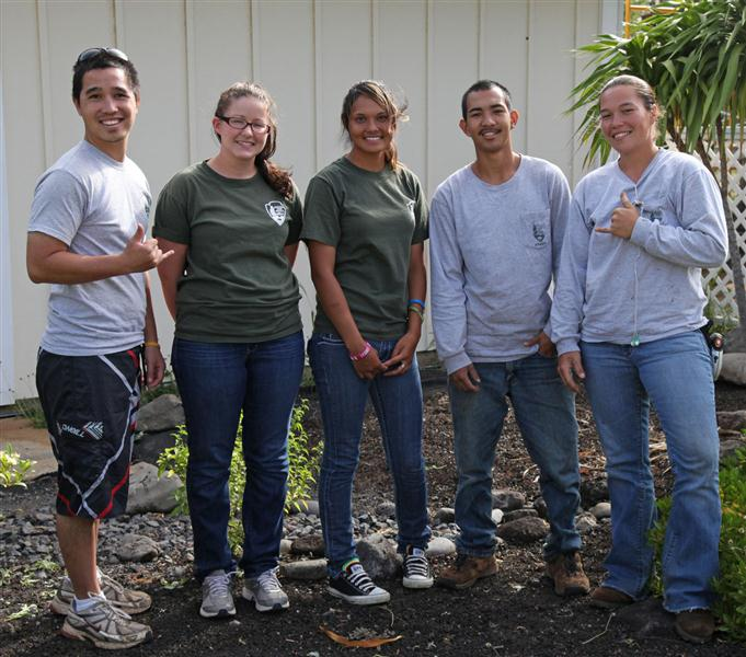 From left to right: Micah Stephenson, Megan Borthwick, Tyra Mollena, Maverick Kaulia-Delacruz, and Hoku Kaawaloa