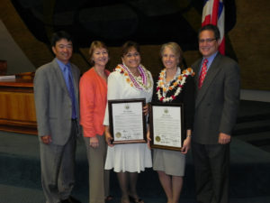 Maui Senators congratulate members of the Maui Invasive Species Committee. Left to right, Sen. Shan Tsutsui, Sen. Roz Baker, Lori Buchanan, Teya Penniman, and Sen. J. Kalani English.