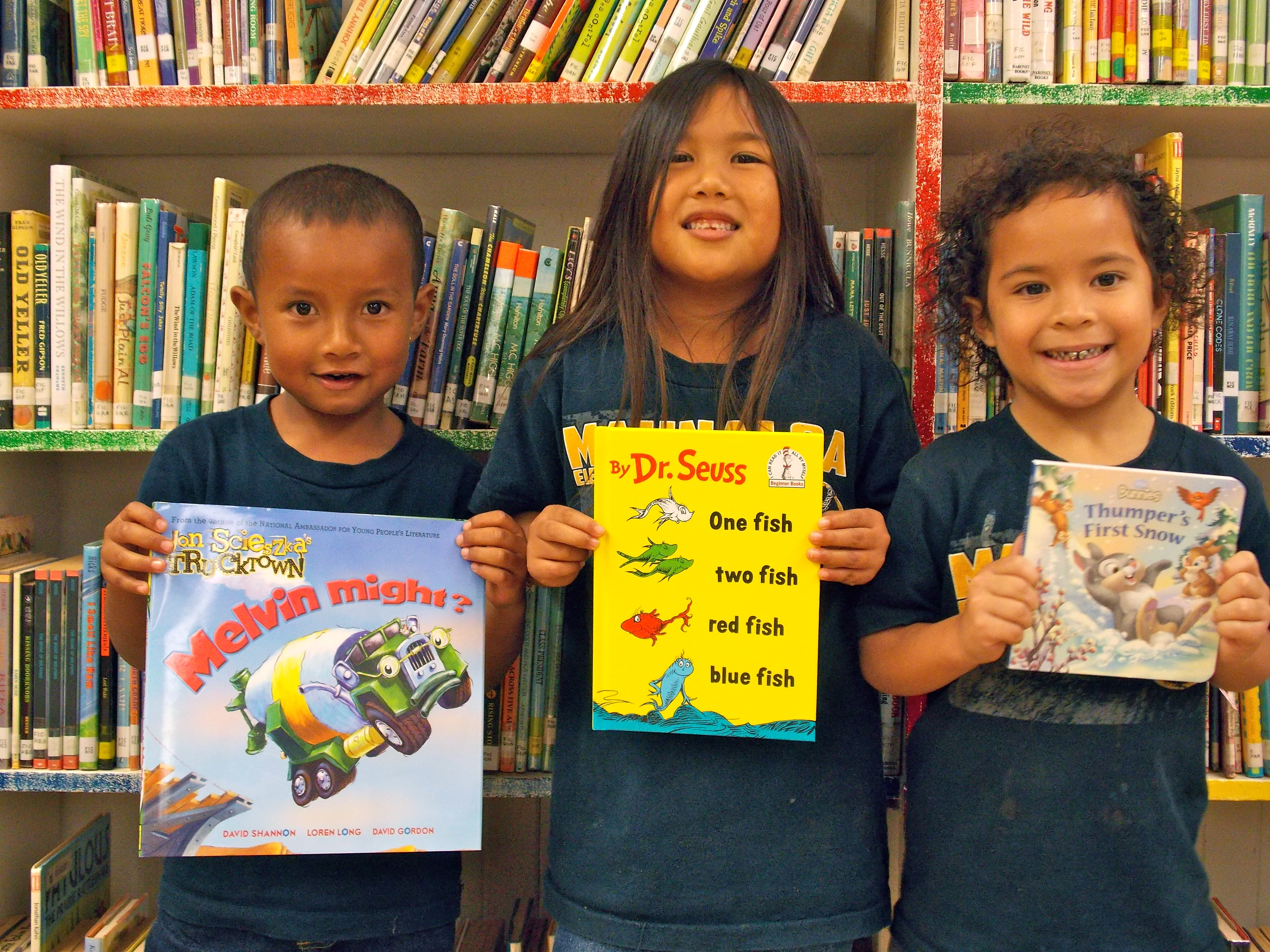 Keiki are excited to read their new books from the First Book program