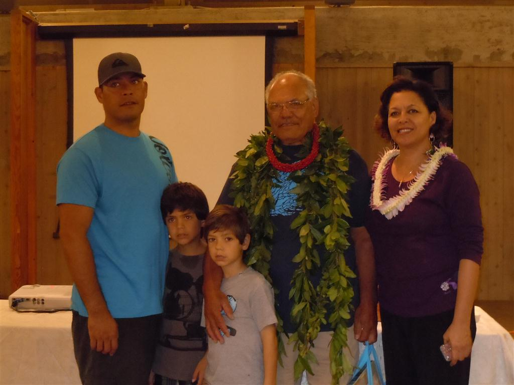 Mac Poepoe was awarded the Umu Kai Award and is pictured here with his wife, son and grandsons. Photo by Catherine Cluett