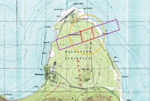 The Makanalua Bombing Range on the Kalaupapa peninsula. Courtesy Army Corps of Engineers.