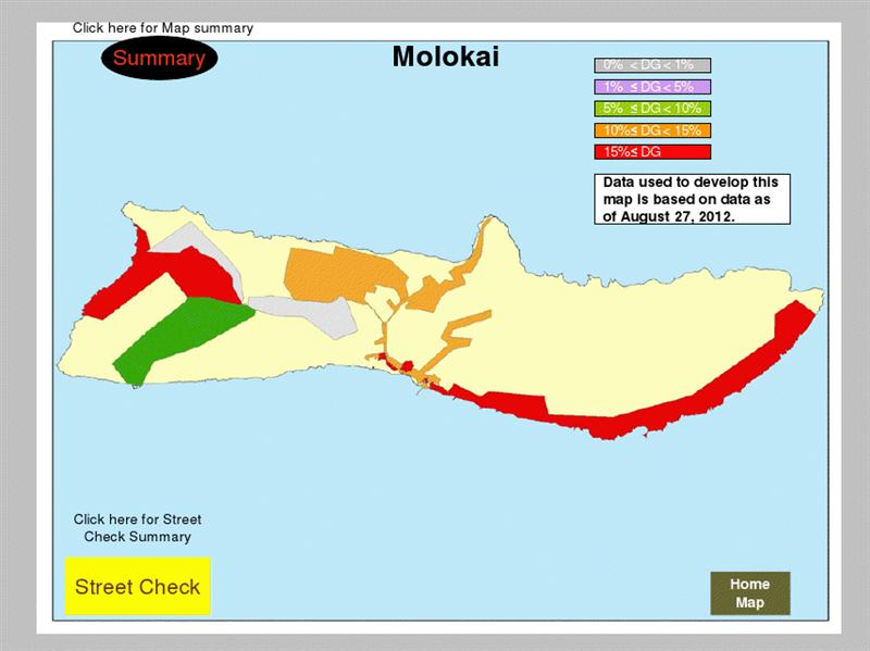 MECO renewable energy penetration map for Molokai, by circuit, as of Aug. 27.