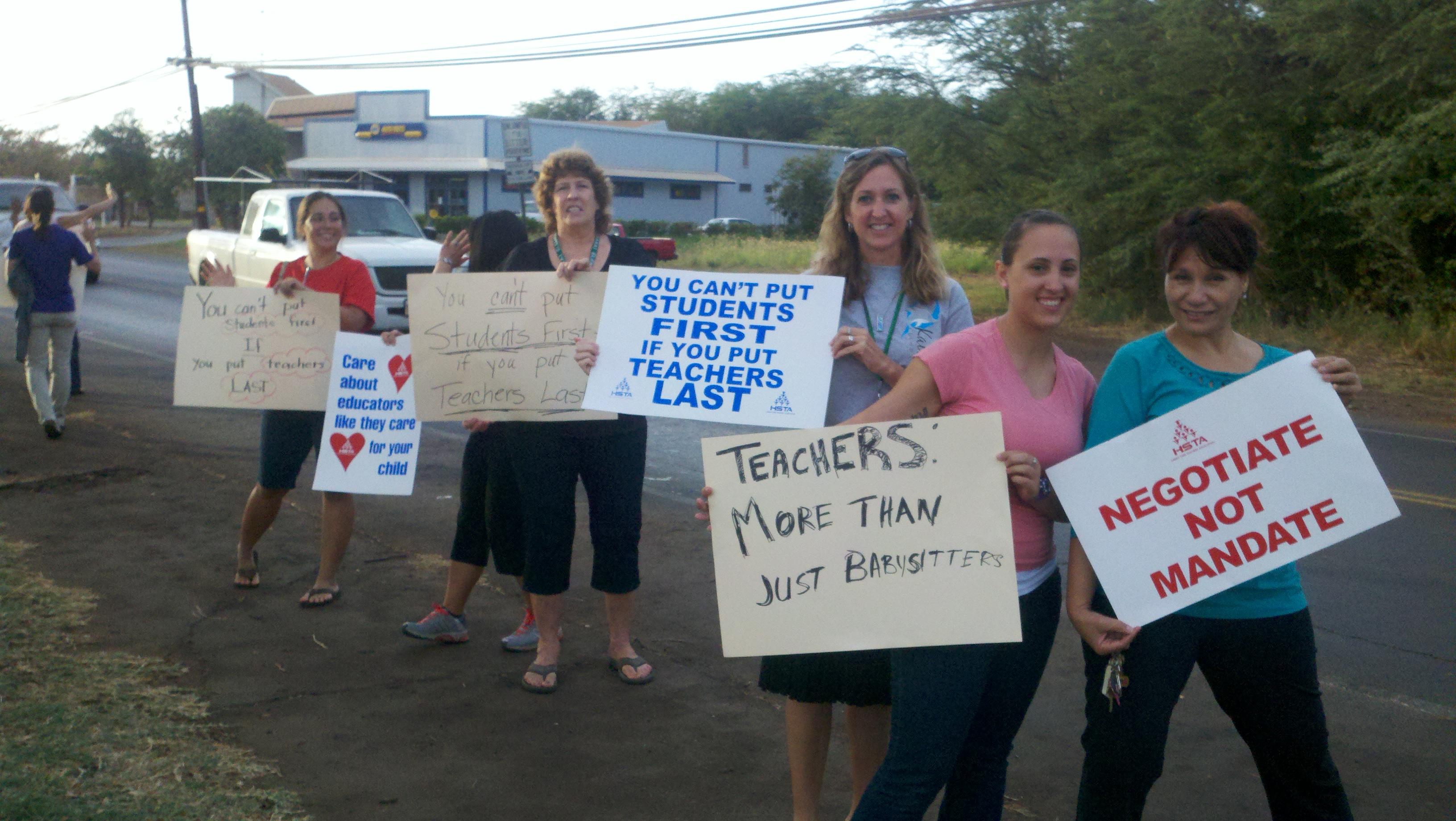 Teachers protest in front of Kaunakakai School last week. Photo by Jenn Whitted
