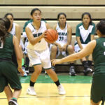 Precious Rawlins eyes the basket against UH Lab. Photos by Colleen Uechi.
