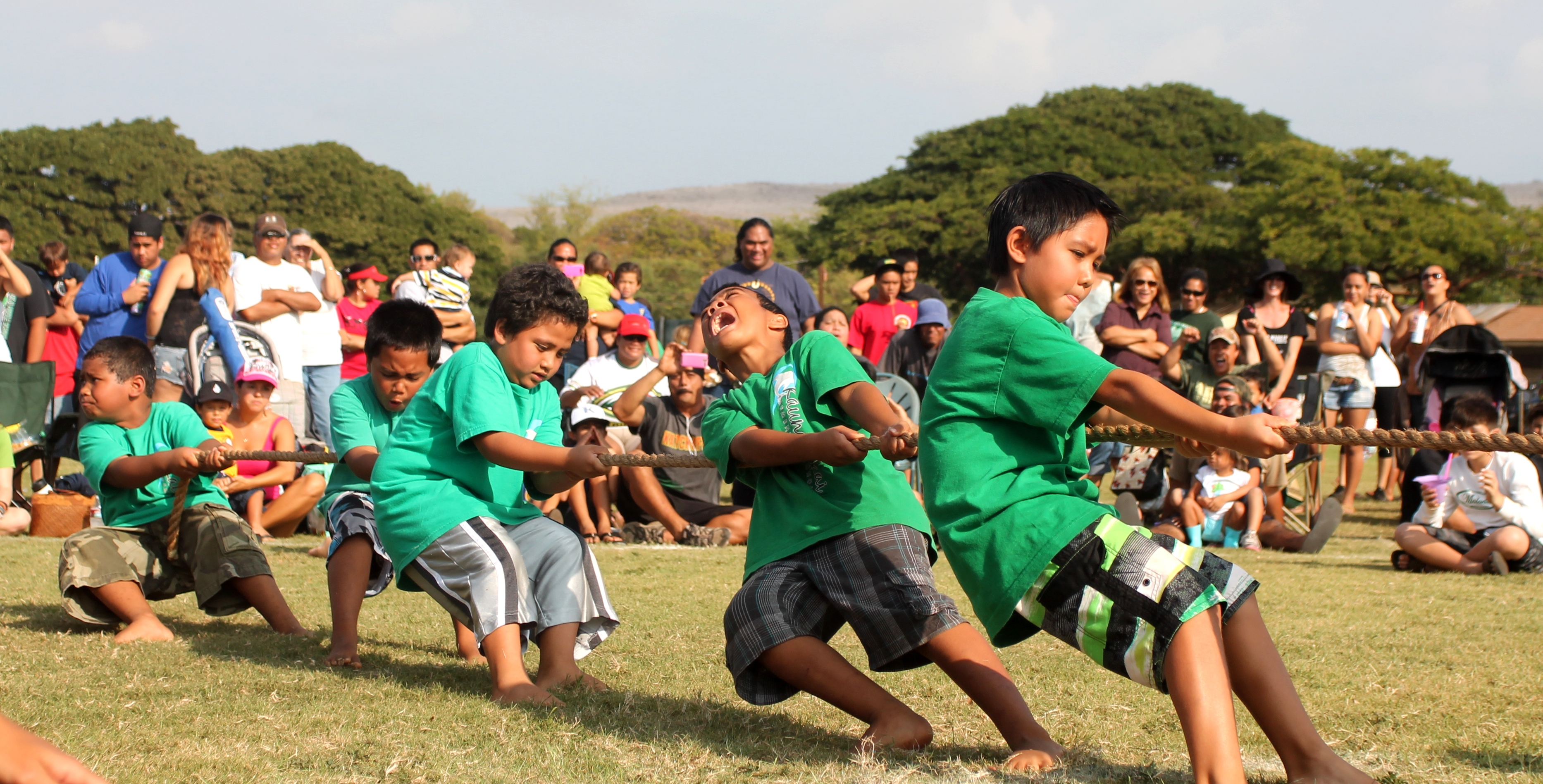 Hukihuki participants tug for victory at Saturday's Makahiki games