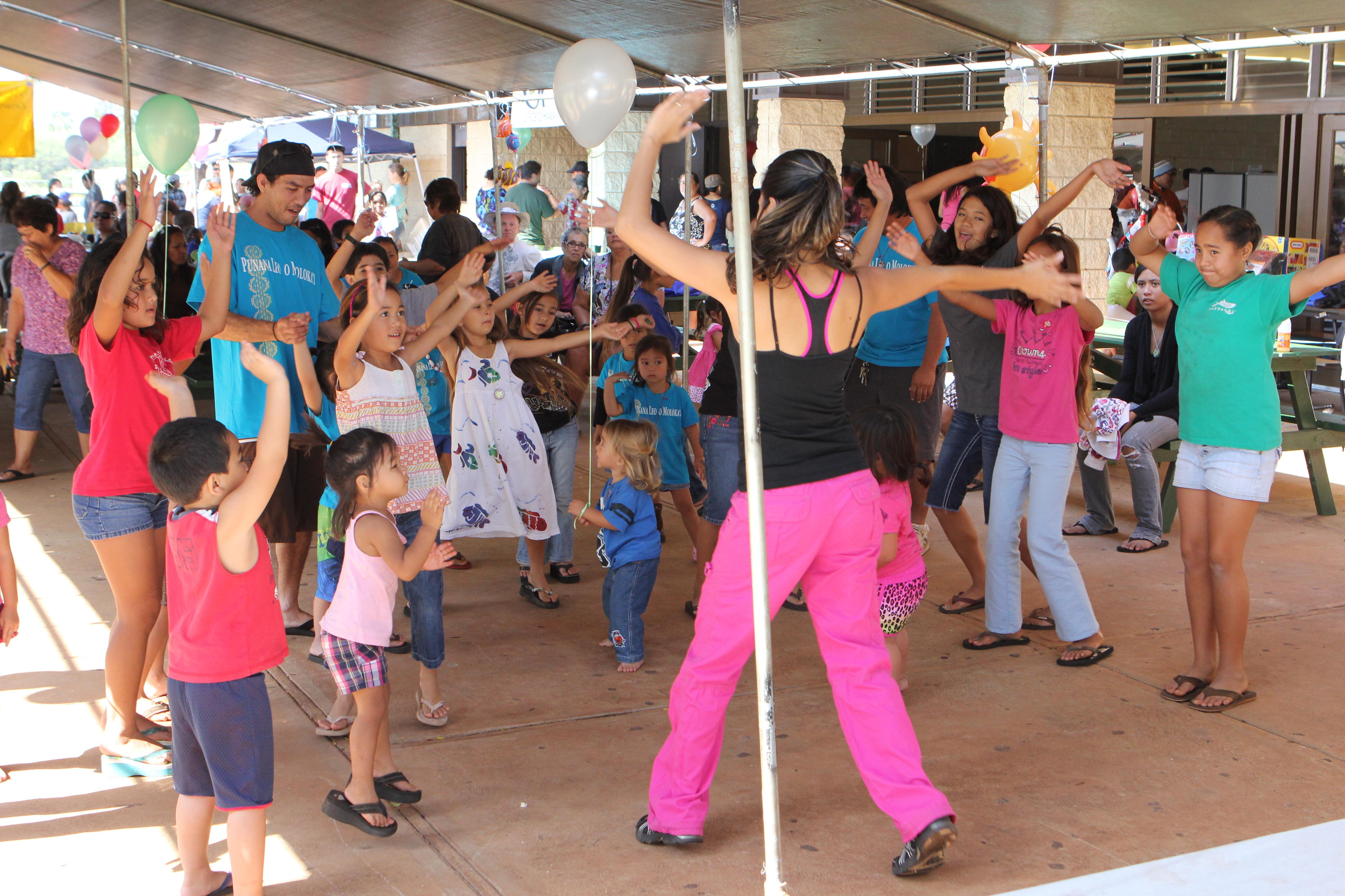Children dance along for Keiki Zumba at last year's Molokai Keiki Expo.