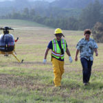 Pilot Michael Richards was able to walk away from the rescue helicopter on his own.