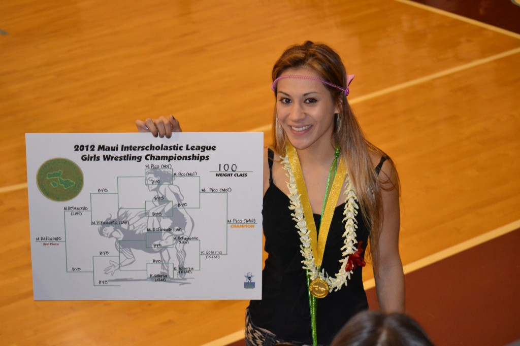 Mikayla Pico, The Maui News MIL Girls Wrestler of the Year, pictured here at the MIL Championships in Feb. 2012, after winning her third straight MIL title. Photo courtesy Mikayla Pico.