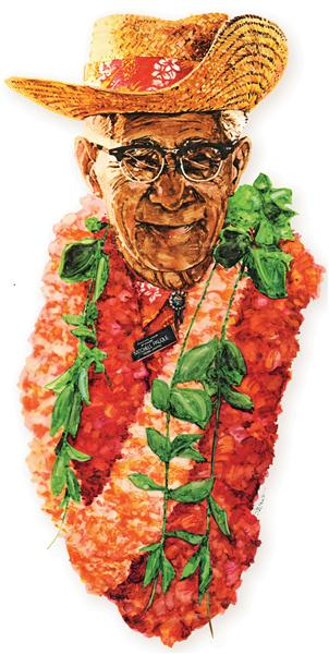 "An artist's rendition of Mitchell ""Papa"" Pauole on a commemorative posted presented to his family by the Bank of Hawaii."