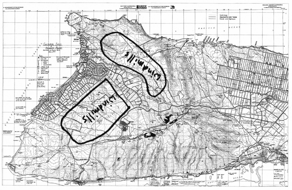 Norman Rizk drew the areas of Pattern Energy's proposed wind turbines on west Molokai based on the description given by a Pattern official. Map courtesy WMA.