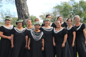 Na Wahine O Kalawao dance a hula as festivities begin. Photo by Laura Pilz