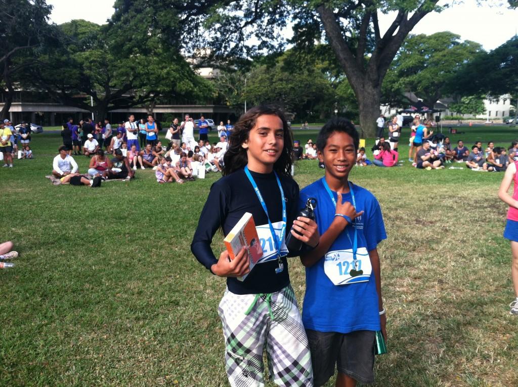 Boy's 11-12 Winner Kaina Adolpho (left) and third place finisher Rafael Adolpho (right). Photo courtesy Matt Helm